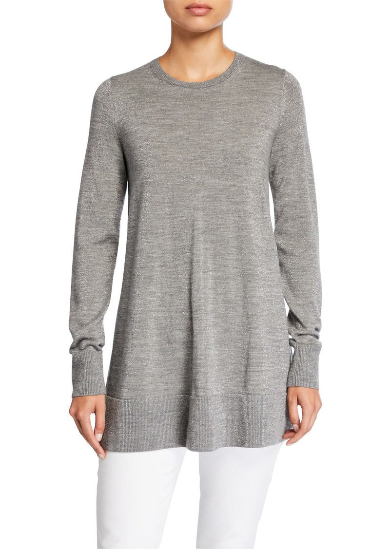 Lafayette 148 Metallic Fine-Gauge Merino Wool Crewneck Tunic Sweater