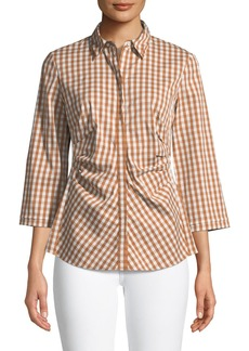 Lafayette 148 Mica 3/4-Sleeve Pleated Check Blouse