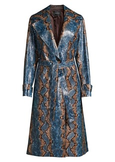 Lafayette 148 Michael Snakeskin-Print Leather Trench Coat
