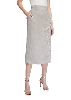 Lafayette 148 Milani Floral Beaded Linen Skirt
