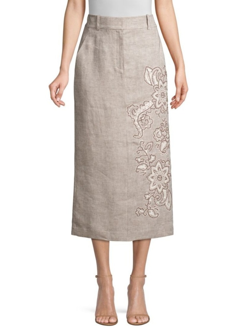 Lafayette 148 Milani Floral-Detailed Linen Skirt