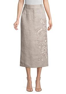 Lafayette 148 Milani Floral-Detailed Linen Skirt