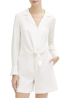 Lafayette 148 Miley Long-Sleeve Tie-Front Matte Silk Blouse