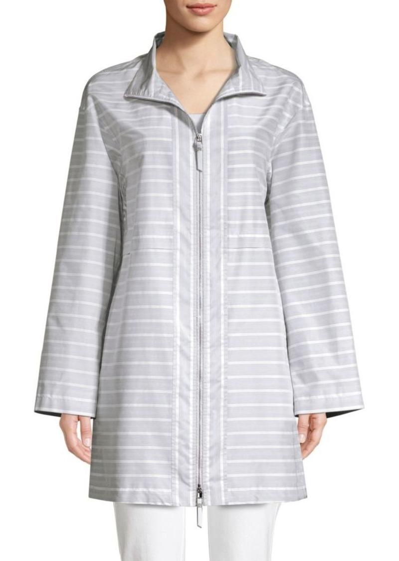 Lafayette 148 Minerva Cotton Silk Striped Jacket