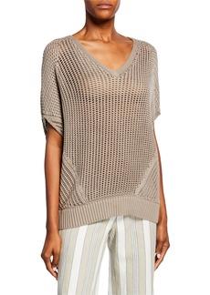 Lafayette 148 Mixed V-Neck Stitch Sweater