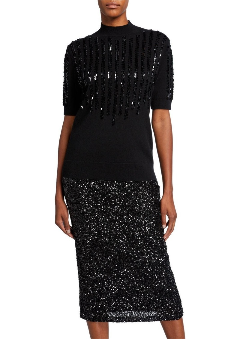 Lafayette 148 Mock-Neck Elbow-Sleeve Cashmere Sweater with Sequins