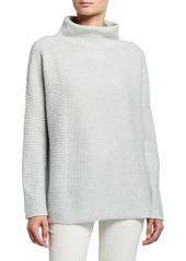 Lafayette 148 Mock Neck Intersecting Stitch Cashmere/Silk Sweater