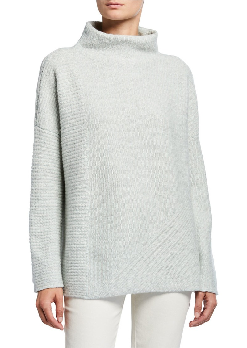 Mock Neck Intersecting Stitch Cashmere/Silk Sweater