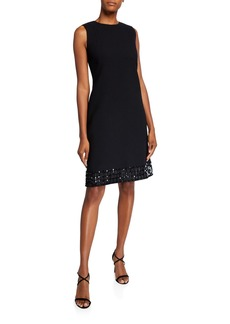 Lafayette 148 Morganna Sleeveless Nouveau Crepe Dress w/ Embellished Hem