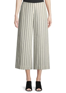 Lafayette 148 Morton Striped Cropped Wide-Leg Pants