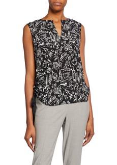 Lafayette 148 Myra Printed Side-Tie Sleeveless Silk Blouse