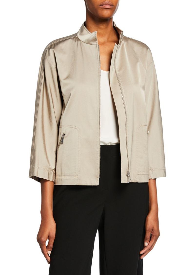 Lafayette 148 Neely Urbane Satin Zip-Front Jacket