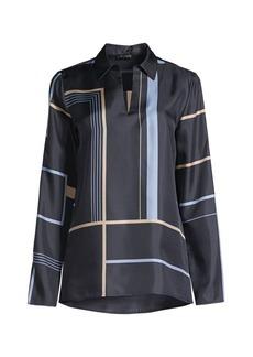Lafayette 148 Nellie Geometric-Print Silk Shirt