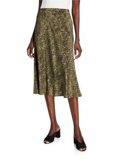 Lafayette 148 Neyla Sophisticated Snake-Print Silk Skirt