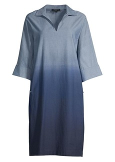 Lafayette 148 Nicole Ombré Chambray Tunic Dress