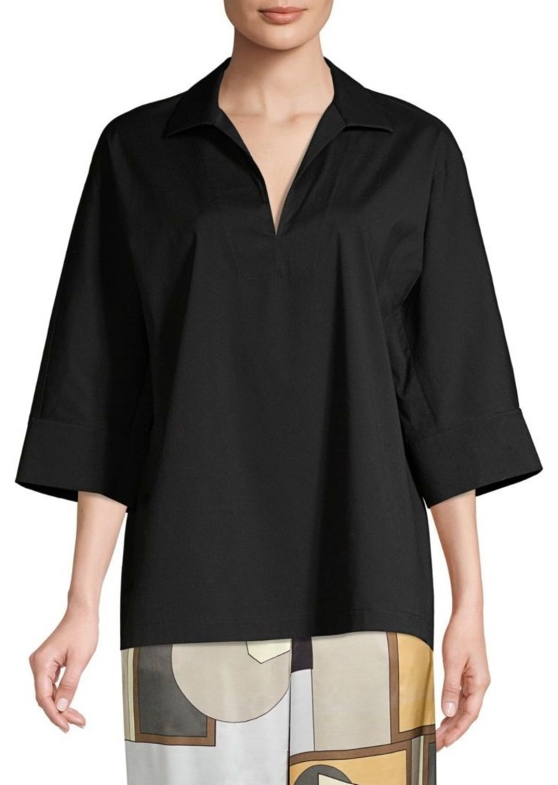 Lafayette 148 Nicole Stretch Cotton Tunic Blouse