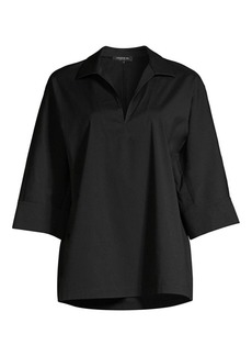 Lafayette 148 Nicole Stretch Cotton Tunic Blouse