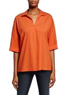 Lafayette 148 Nicole V-Neck 3/4-Sleeve Italian Stretch-Cotton Blouse