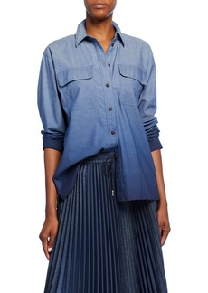 Lafayette 148 Nicolina Chambray Ombre Button-Down Blouse