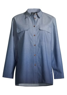 Lafayette 148 Nicoline Ombre Chambray Blouse