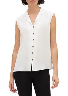 Lafayette 148 Nigella Button-Front Silk Double Georgette Sleeveless Blouse