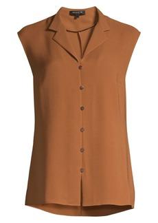 Lafayette 148 Nigella Cap Sleeve Silk Blouse