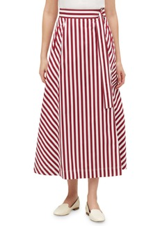 Lafayette 148 Nimah Strada-Stripe Midi Cotton Skirt
