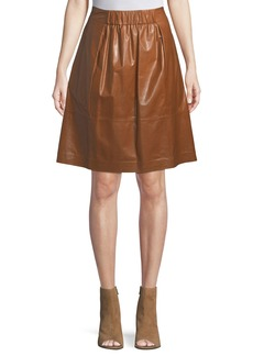 Lafayette 148 Noellene A-line Pull-On Leather Skirt