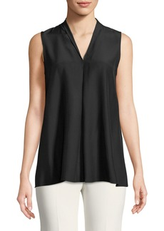 Lafayette 148 Nora Sleeveless Pleated Matte-Silk Blouse