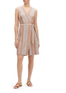 Lafayette 148 Oaklyn Lombardy-Stripe Wrap-Front Sleeveless Linen Jumpsuit