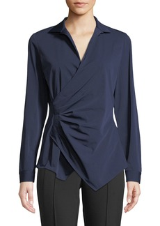 Lafayette 148 Odetta Gathered Surplice-Neck Blouse