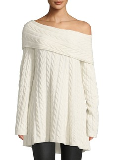 Lafayette 148 Off-the-Shoulder Long-Sleeve Cable-Knit Cashmere-Blend Sweater