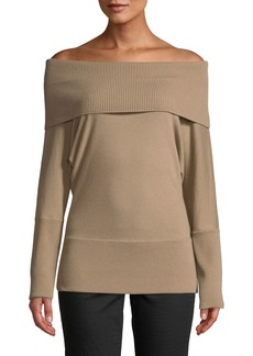Lafayette 148 Off-the-Shoulder Wool Long-Sleeve Top