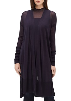 Lafayette 148 Open-Front Long-Sleeve Semisheer Voile Duster Cardigan