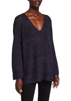 Lafayette 148 Open-Stitch-Neck Metallic Cashmere-Silk Sweater