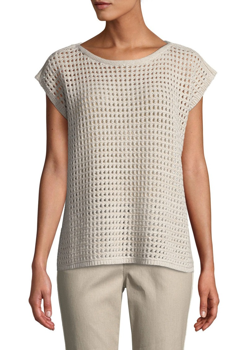 Lafayette 148 Open-Stitch Sequin Sleeveless Sweater