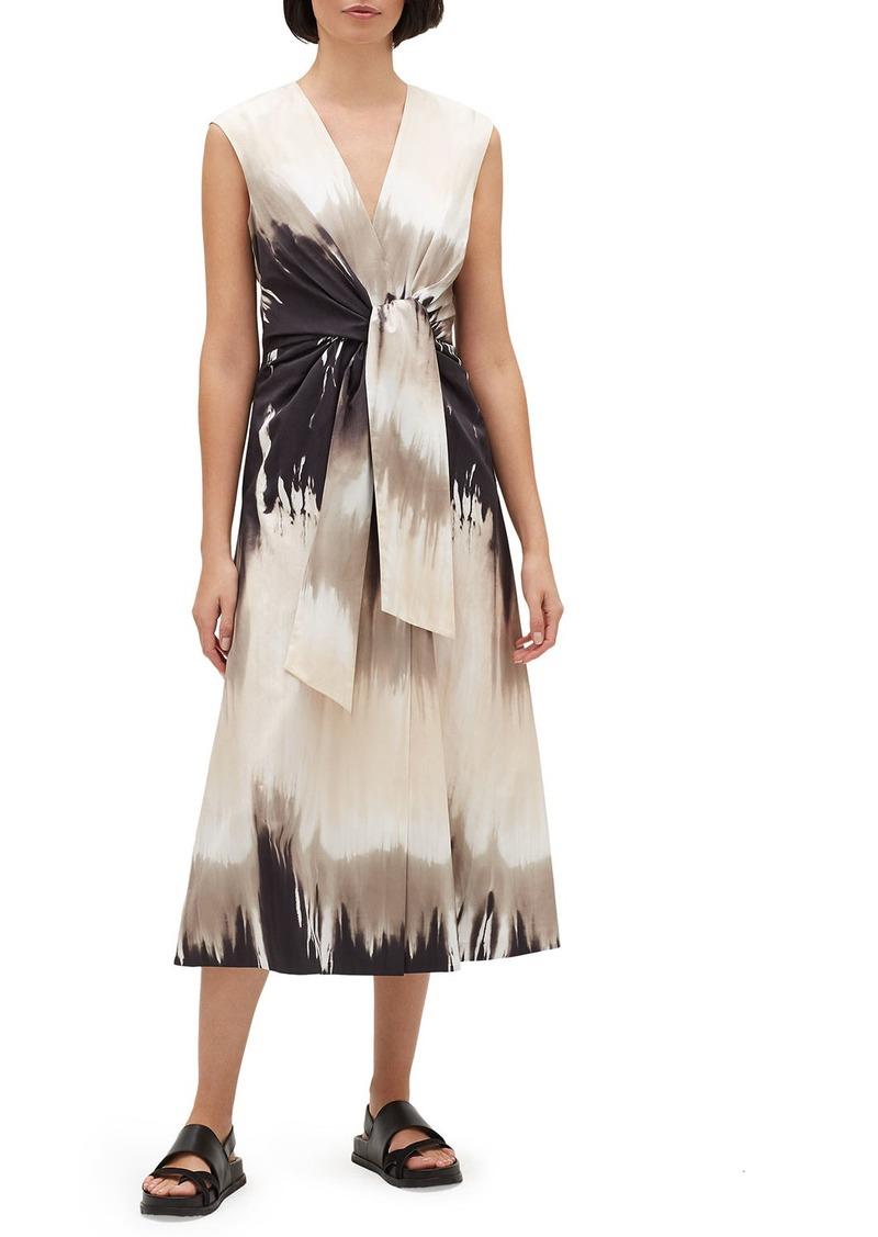 Lafayette 148 Orielle Sandstone Ombre Tie-Waist Sleeveless Midi Dress
