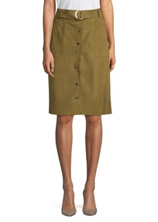 Lafayette 148 Orla Belted Suede Skirt