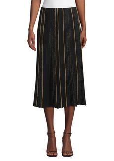 Lafayette 148 Ottoman Pleat Sequin Silk Lurex Midi Skirt