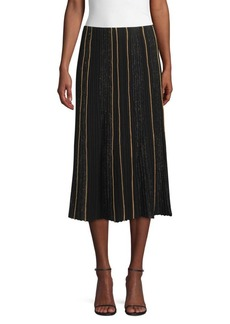 Lafayette 148 Ottoman Pleat Sequin Silk Lurex Midi Skirt