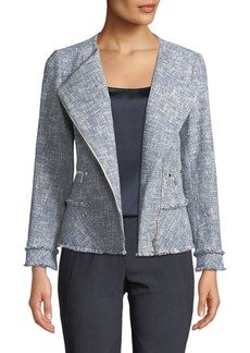Lafayette 148 Owen Tweed Zip-Front Moto Jacket