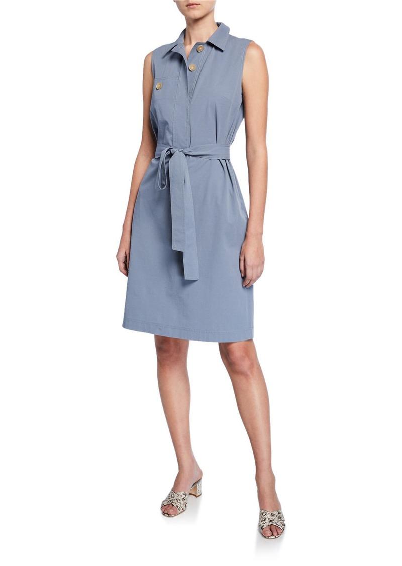 Lafayette 148 Padma Sleeveless Italian Cotton Bi-Stretch Shirtdress