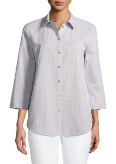 Lafayette 148 Paget Gingham Wide-Sleeve Button-Front Blouse
