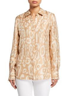 Lafayette 148 Painted Leopard Silk Button-Down Blouse