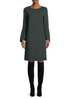 Lafayette 148 Paloma Punto Milano Dress w/ Trumpet Sleeves