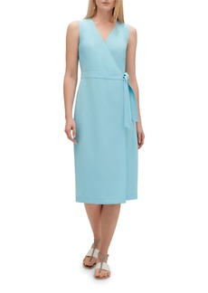 Lafayette 148 Pammie Sleeveless Finesse Crepe Wrap Dress