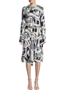 Lafayette 148 Paris Geometric-Print Belted A-Line Dress