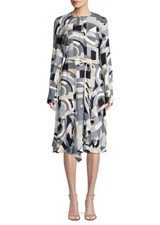 Lafayette 148 Paris Geometric Print Belted A-Line Dress