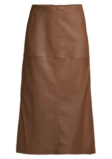Lafayette 148 Pascoe Leather Midi Skirt