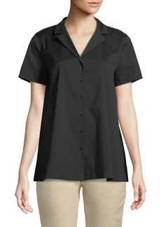 Paula Notch-Collar Blouse